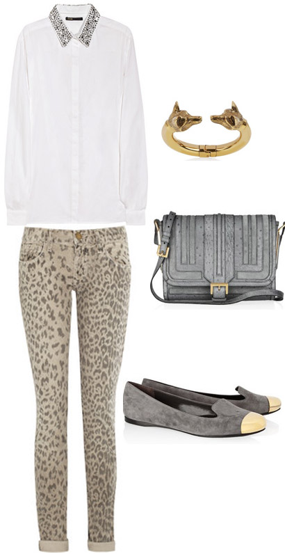 Evalyn suede loafers – Yves Saint Laurent – £510. Burnished gold-tone fox  bracelet – Burberry Accessories – £395. Ostrich and suede shoulder bag ... 12b6fa5d51